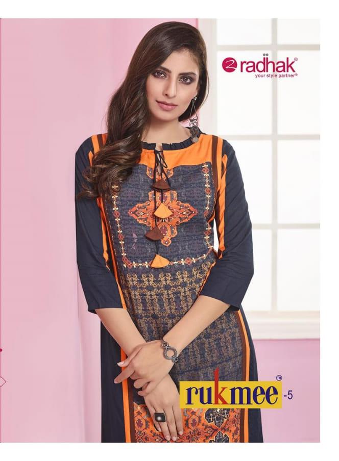 Radhak fabrics rukmee 5 rayon kurties collection at wholesale rate