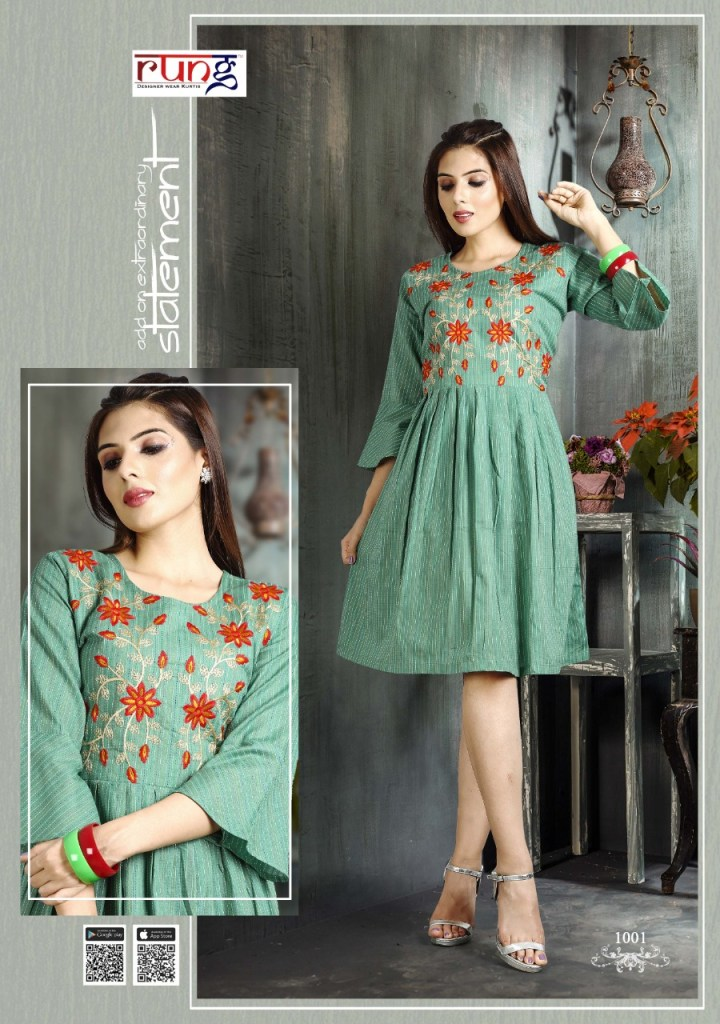 Rung epic fancy embroidered cotton short tunics collection