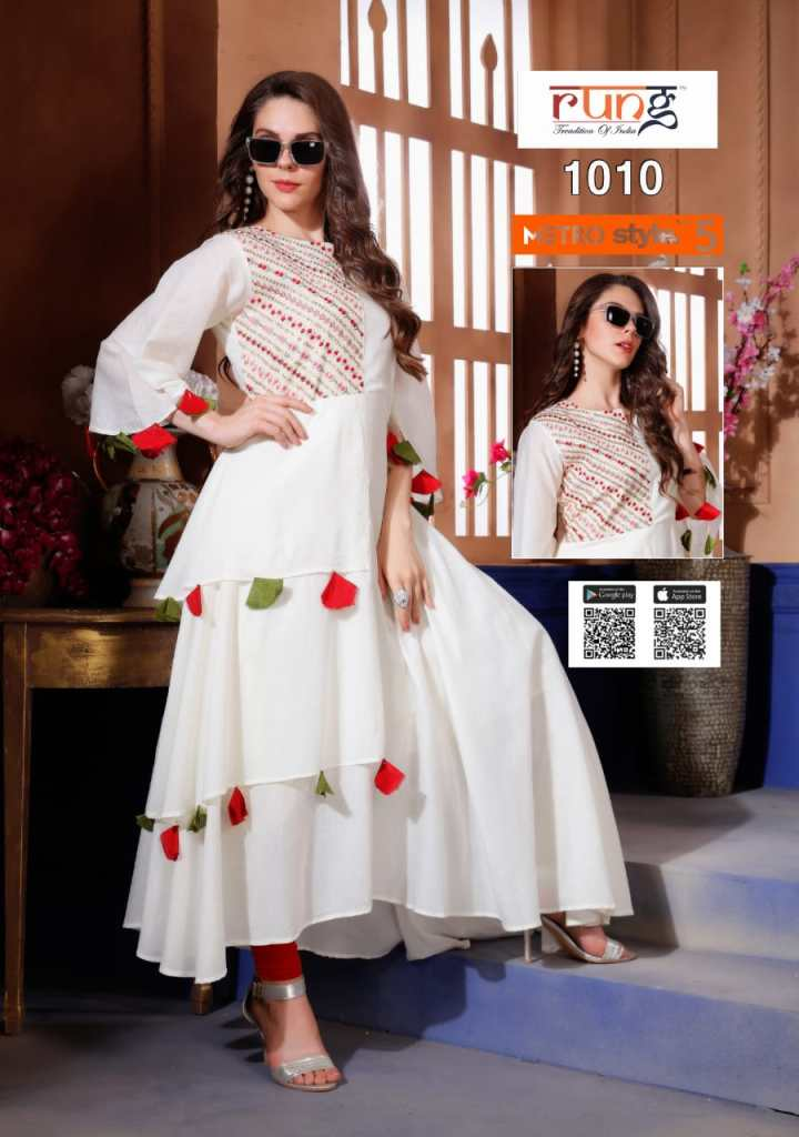 Rung presents metro style vol 5 fancy beautiful party wear kurties collection