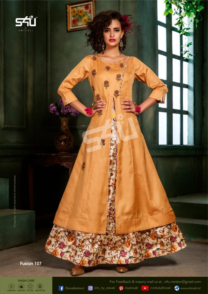 S4u by shivali fusion 2019 fancy kurti with skirt and plazzo collection dealer