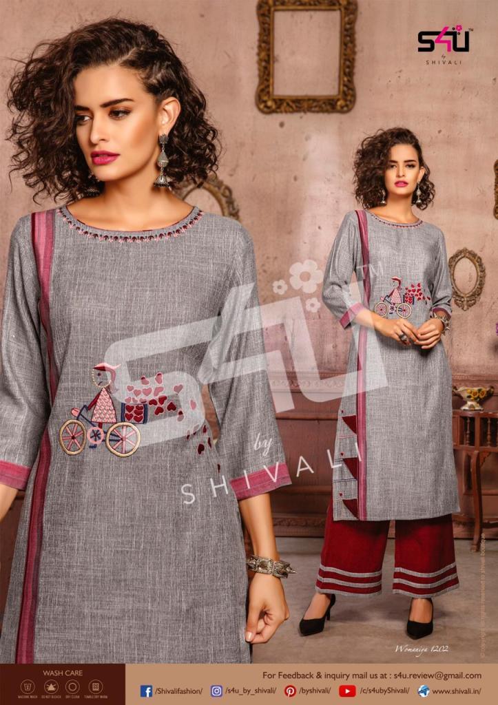 S4u by shivali womaniya vol 12 beautiful printed kurties with plazzo