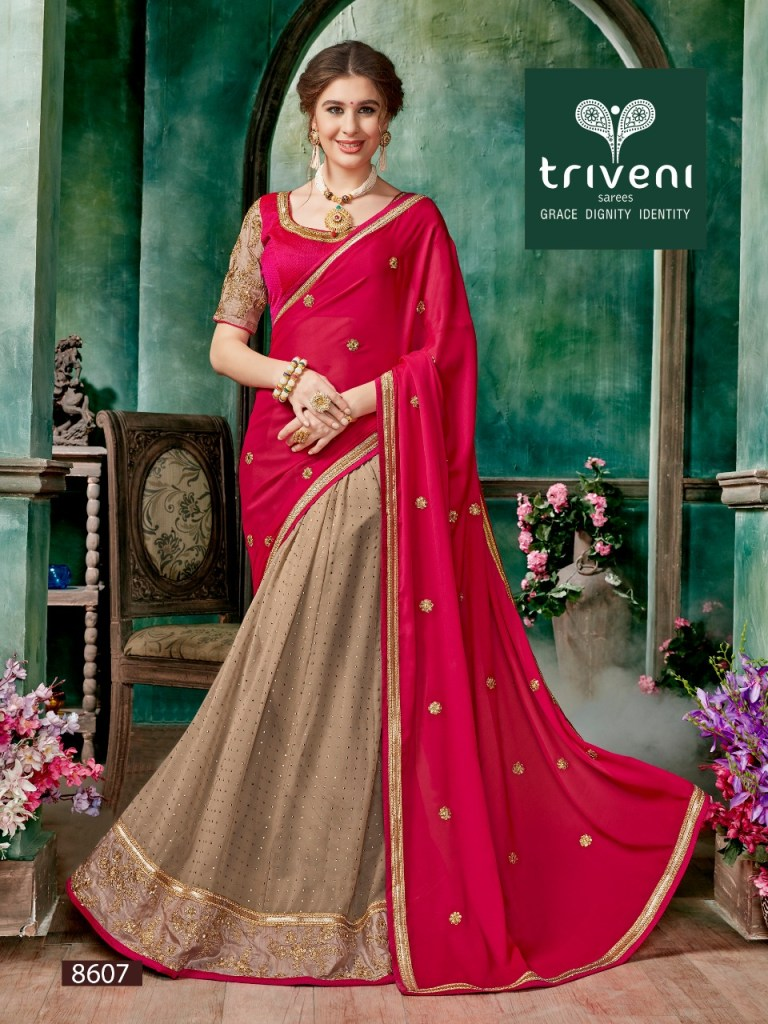 triveni devanshi colorful fancy collection of sarees at reasonable rate
