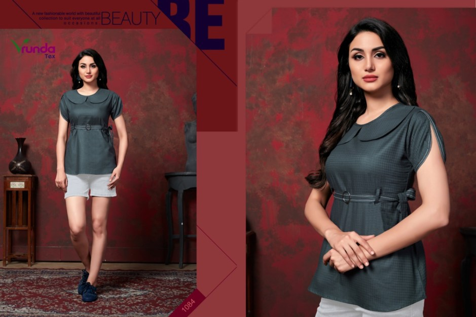 vrunda tex varni colorful fancy collection of tops at reasonable rate