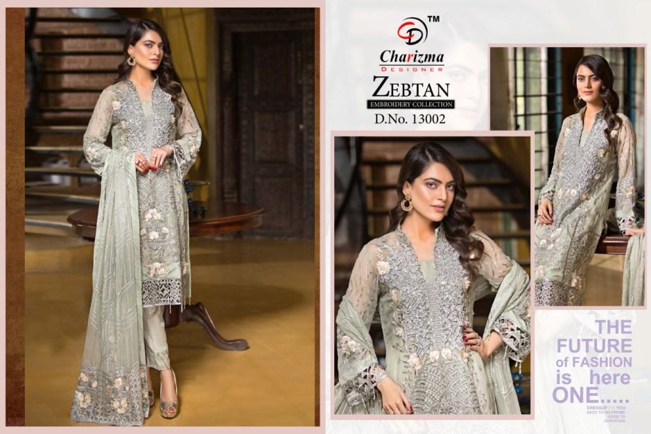 Charizma designer zebtan heavy embroidered pakistani salwar kameez collection