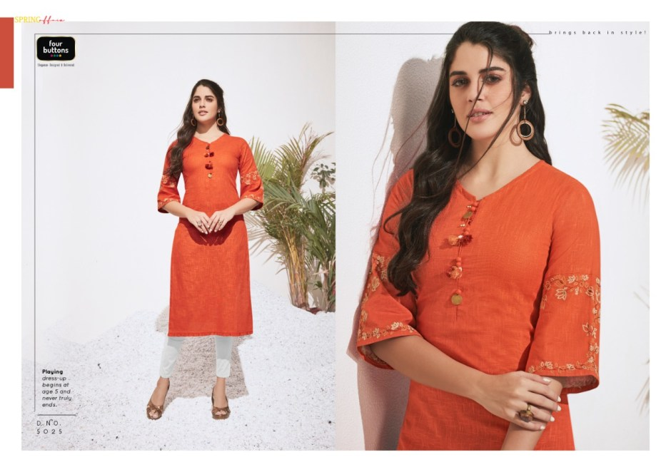 Four buttons colors 3 fancy daily wear casual summer kurties outfit at best rate