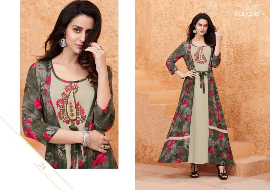 Gulkand designer kitty party long Kurties with jacket outfit