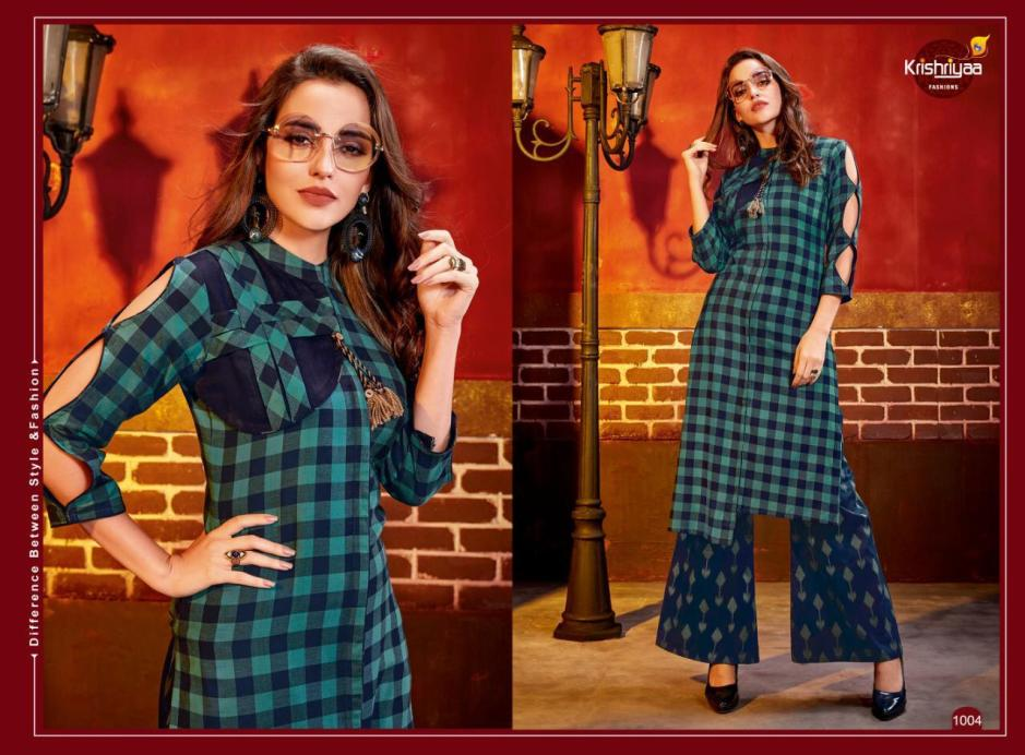 Krishriyaa dazzle vol 5 long kurti with plazzo pants collection dealer
