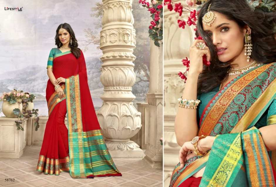 Lifestyle khadi silk vol 19 wedding wear sarees collection at wholesale rate