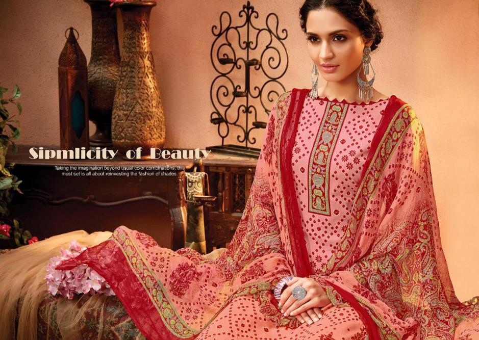 Meenaz satrangi cotton bandhani printed salwar kameez collection