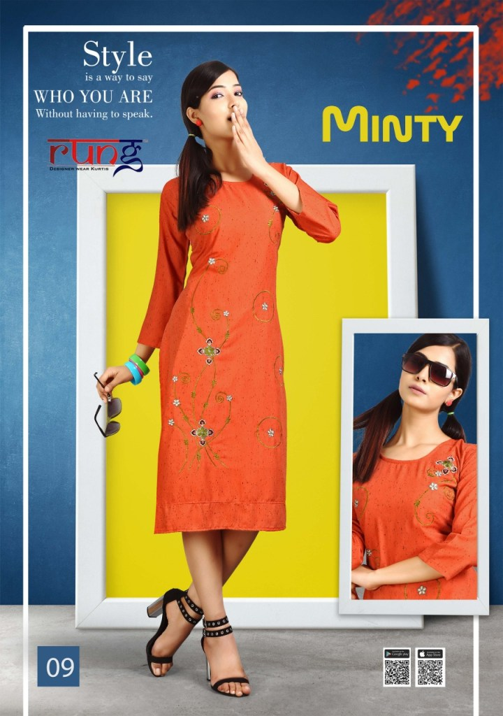 Rung minty rayon daily wear casual kurties collection