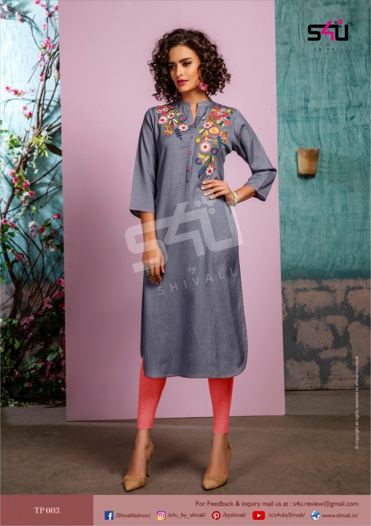 S4u by shivali tropical straight party wear kurties at wholesale price