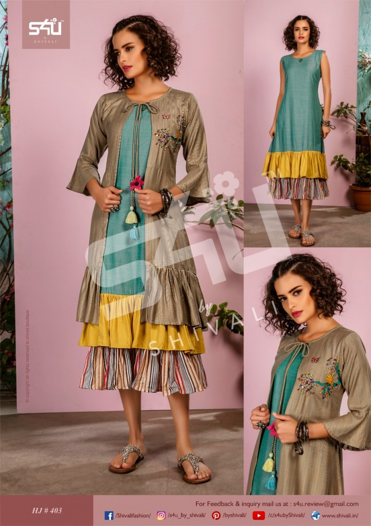 S4u hello Jackets vol 4 designer fancy kurties with Jacket catalog