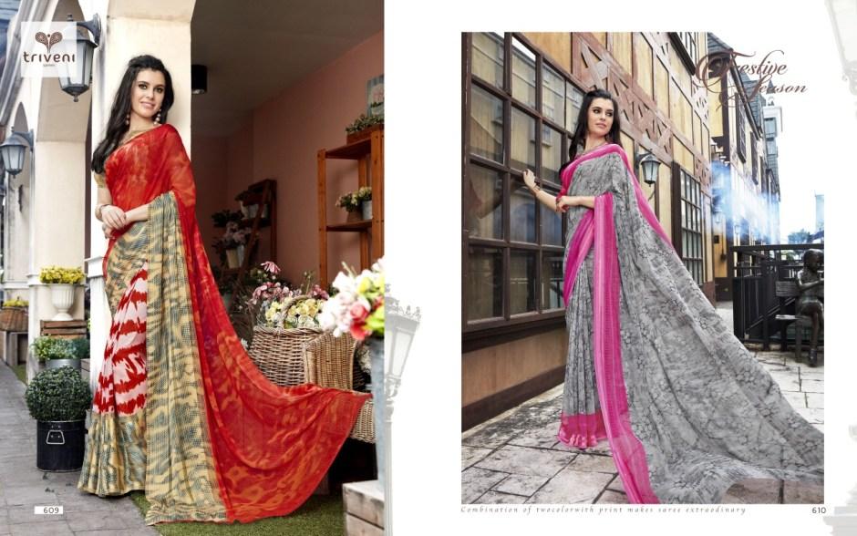 Triveni ambreen colourful party wear sarees exporter online