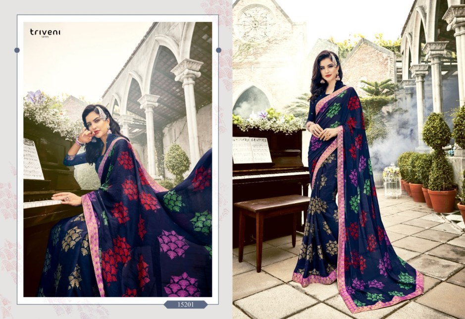 triveni blossom casual printed collection of beautiful sarees