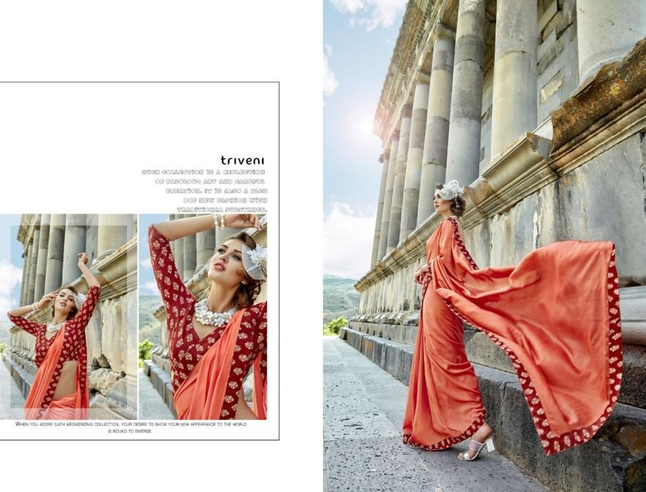 Triveni yamini colourful party wear sarees at wholesale price