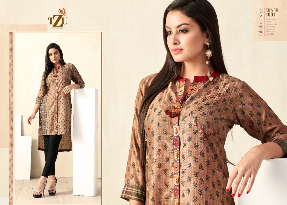 Tzu lifestyle silver cotton embroidered kurties at wholesale rate