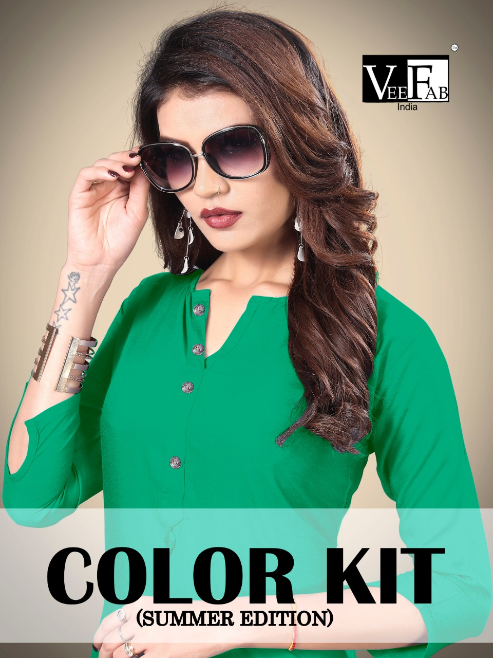 Vee fab colour kit fancy casual wear kurties with plazzo collection