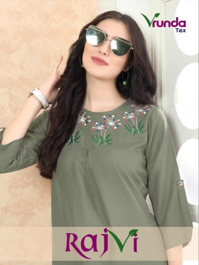 Vrunda tex rajvi rayon casual wear fancy tops collection
