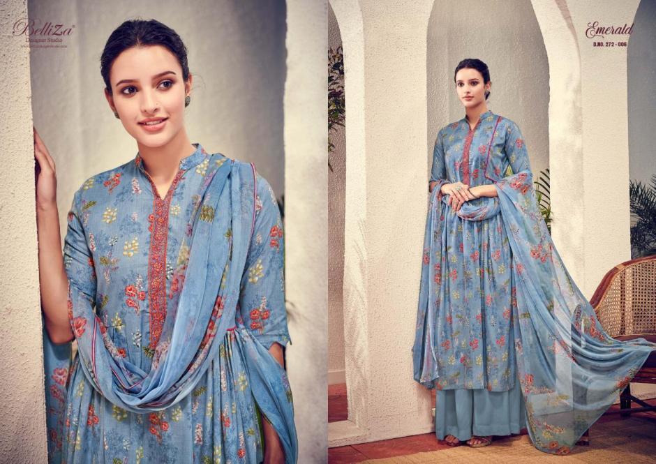 Belliza designer studio emerald digital printed cotton salwar kameez collection