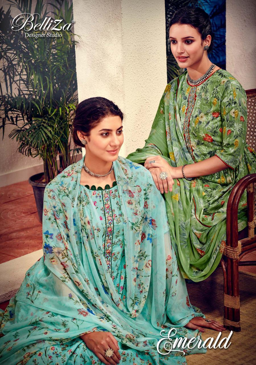 Belliza designer studio emerald digital printed cotton salwar kameez collection