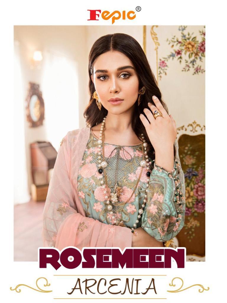Fepic rosemeen arcenia georgette embroidered pakistani salwar suits Wholesaler
