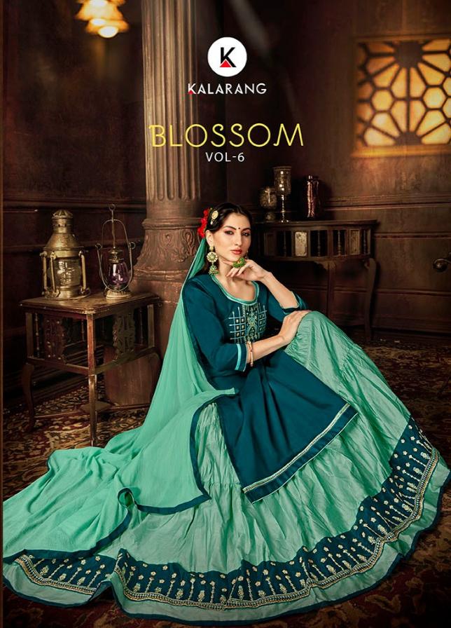 Kalarang blossom vol 6 silk designer suits with skirt collection