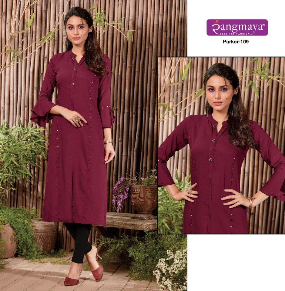 Rangmaya parker designer long straight rayon kurties collection