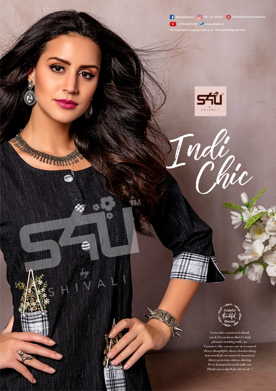 S4u by shivali indichic fancy straight kurties with pants collection