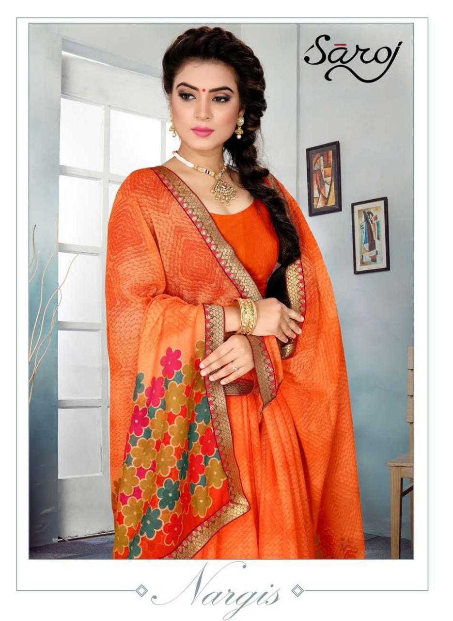 Saroj nargis chiffon printed beautiful colours sarees exporter