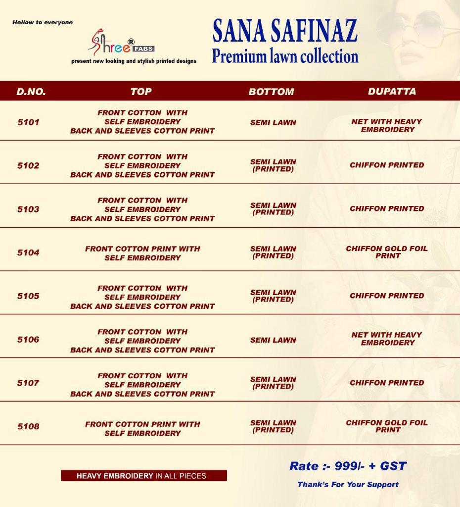 Shree fabs sana safinaz premium lawn pakistani salwar kameez collection
