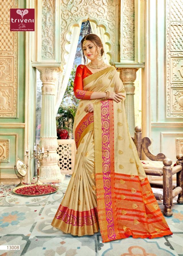 Triveni barghavi fancy printed silk sarees exporter