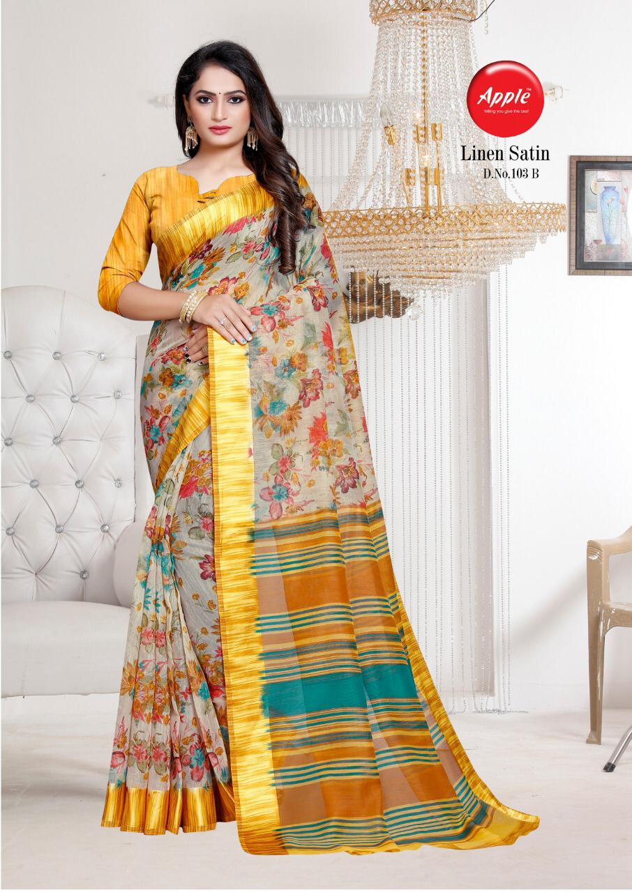 Apple linen satin exclusive collection of beautiful sarees