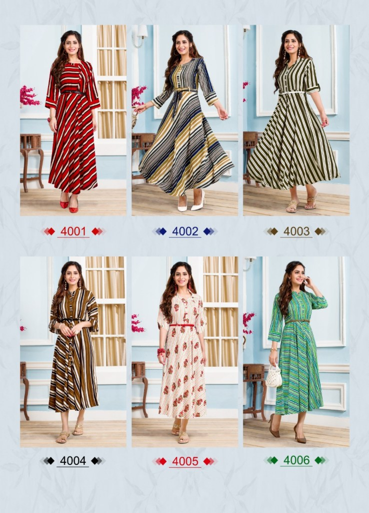 Stree smiley step 4 rayon printed anarkali gowns at wholesale rate