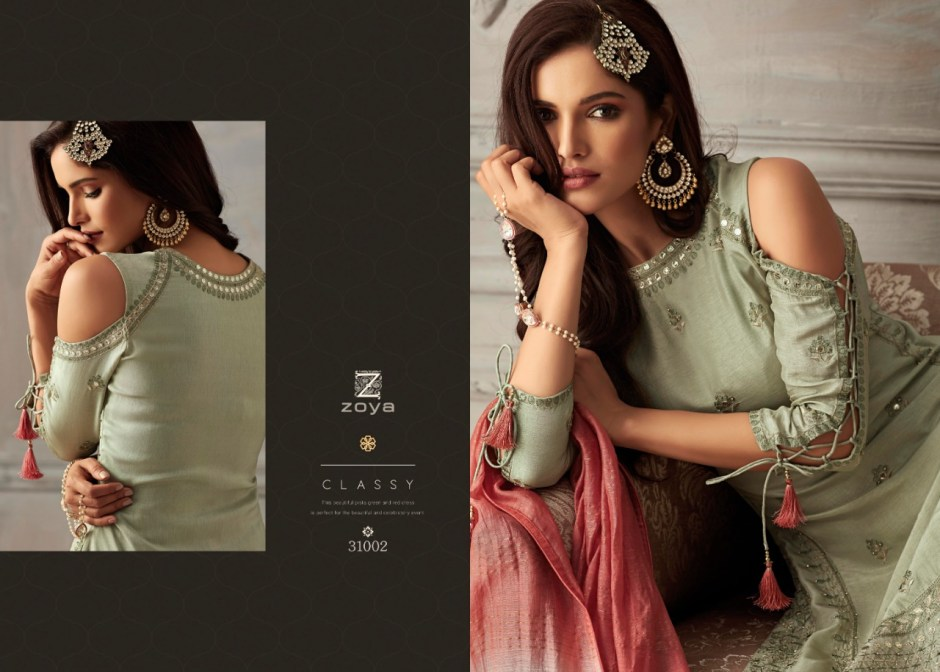 Zoya petals heavy embroidered party wear top with sharara catalog