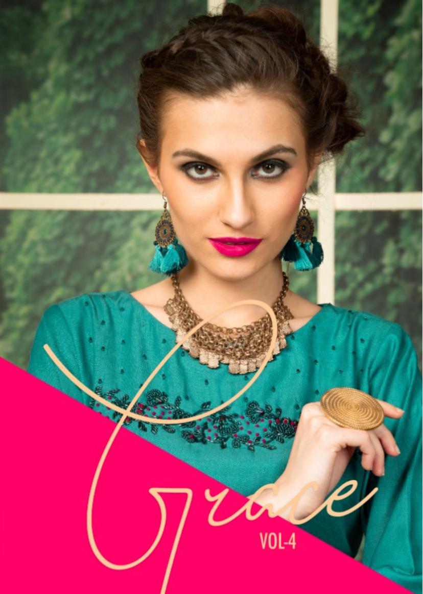 Krishriyaa glace vol 4 elegant straight silk kurtas at wholesale rate