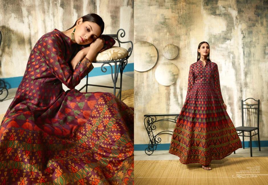 Lt nitya risha long flair anarkali type printed gowns collection wholsaler