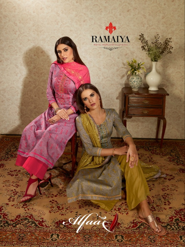 Ramaiya alfaaz cotton embroidered salwar kameez collection at wholesale rate
