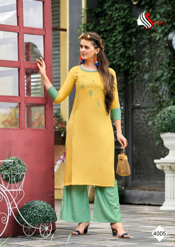 Sawan creation Dani vol 4 heavy rayon Work premium Collection Of Kurties with plazzo at wholesale prices