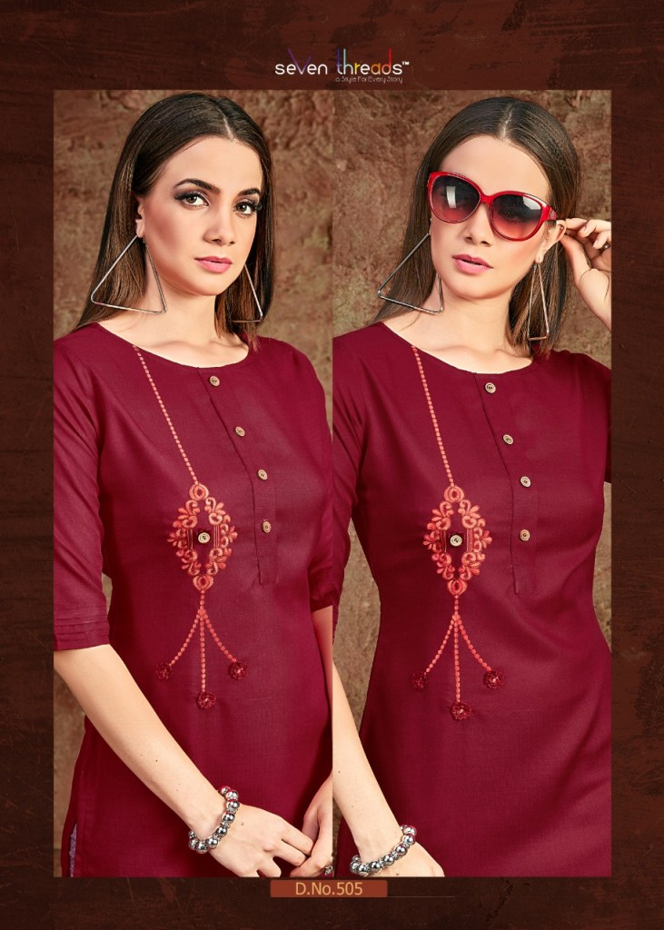 Seven threads poshak embroidered straight kurties collection dealer