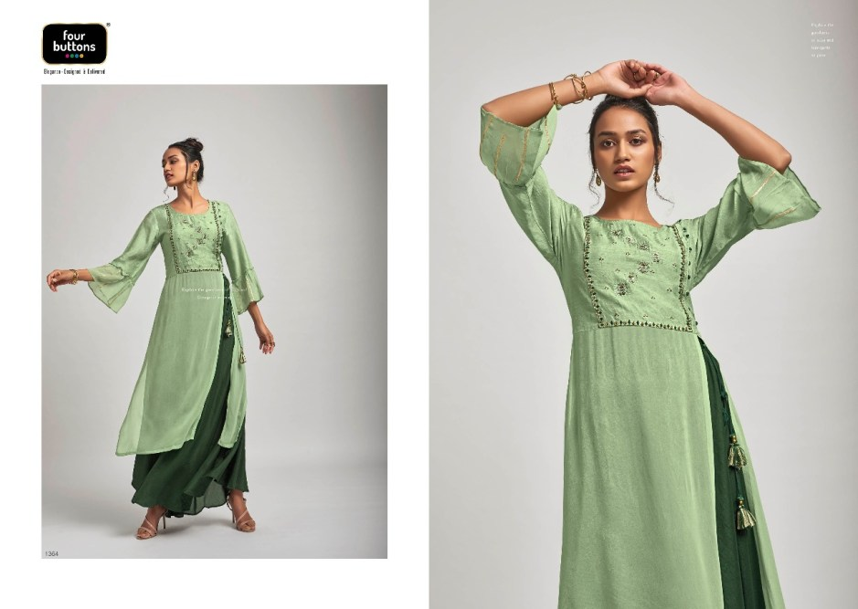 Four buttons raag elegant look beautiful and Stylish look Trendy fits Kurties