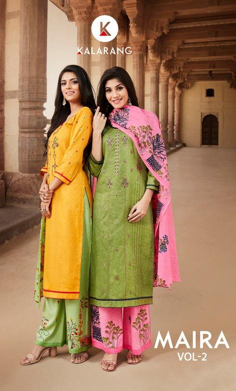 Kalarang Maira Vol 2 gorgeous stunning look satin print with fancy EMBROIDERY work Salwar suits