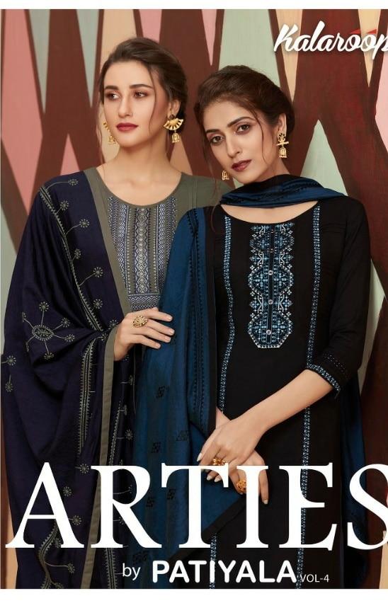 Kalaroop arties by patiyala vol 4 stunning look beautifully designed rayon with Embroidered Kurties