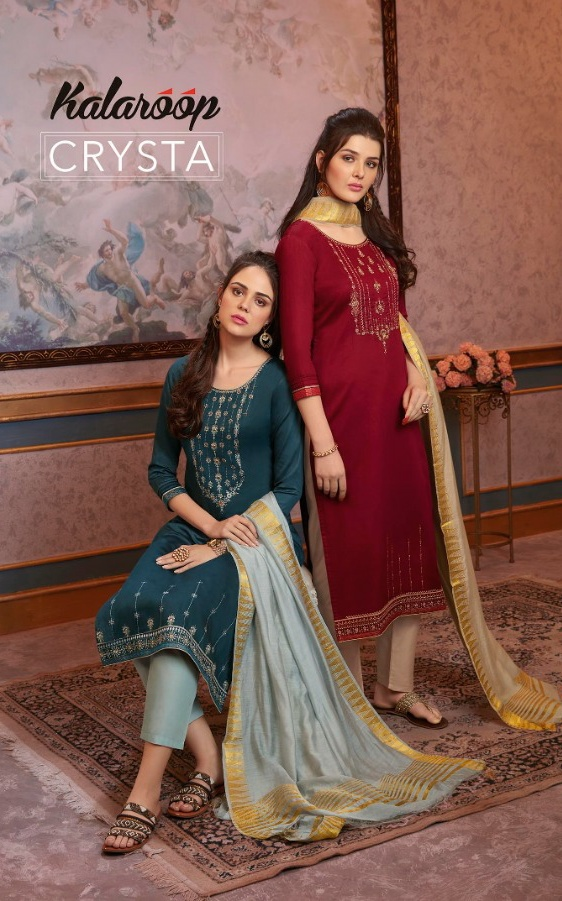 Kalaroop Crysta modern and Stylish jam silk with cotton inner and khatli work Kurties