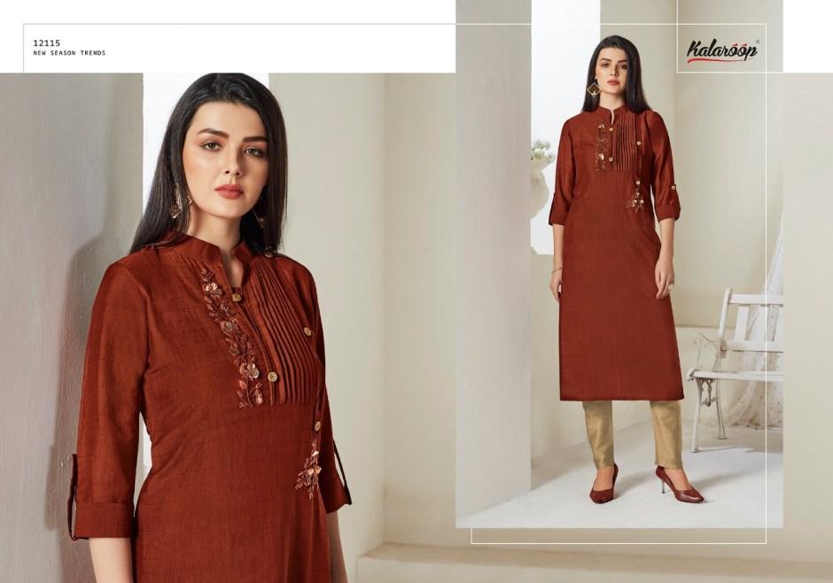 Kalaroop Octavia Vol 2  Lining Silk with Hand Work kurties catalog