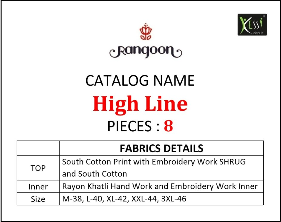 rangoon high line attractive and modern look south cotton print with embroided beautifull kurties