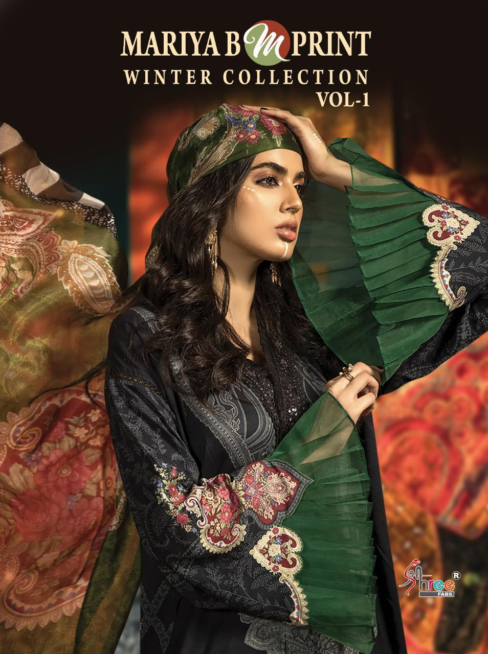 shree fab maria b m print winter collection vol 1 elegant salwar suit catalog