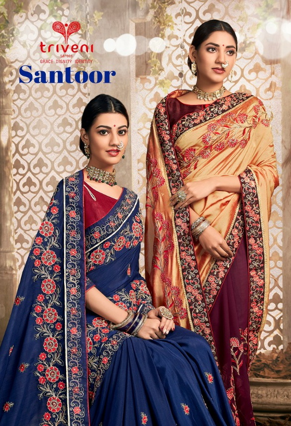 Triveni santoor innovative style beautifully designed Sarees