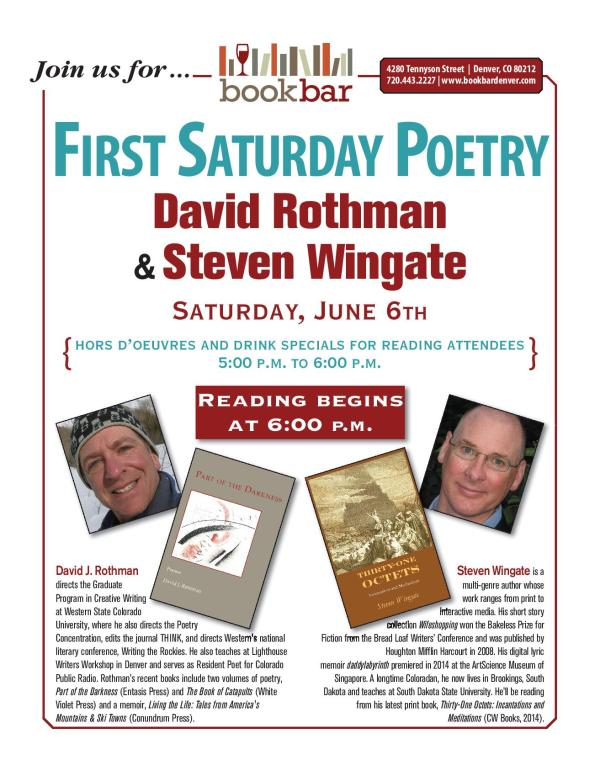 First Saturday Poetry at BookBar with David Rothman and Steven Wingate