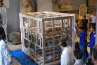 Packing of Tut's ritual bed in the Egyptian Museum