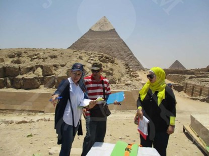 Curator in Pyramids Area before transporting Snefru's Relief